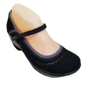Jambu LIDO 8M Clogs Mary Jane Black Gray Leather